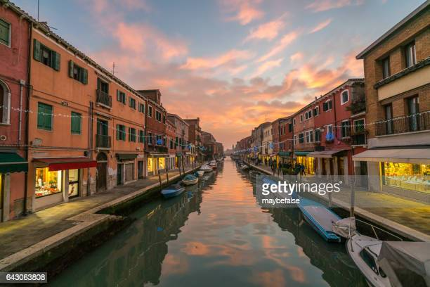 sunset of vinece in murano island - murano stock pictures, royalty-free photos & images