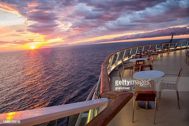 sunset on a cruise ship - deck stock pictures, royalty-free photos & images