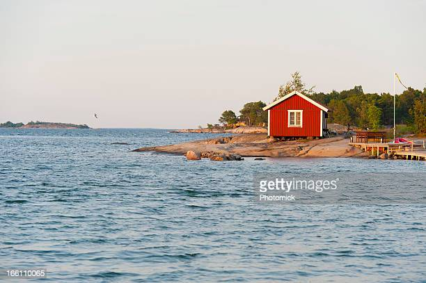 Sunset on a cute little cottage in the archipelago