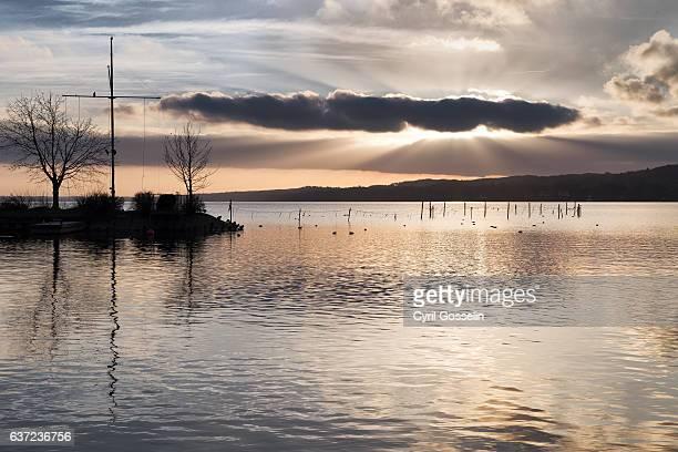 Sunset on a winter day at Starnberg Lake
