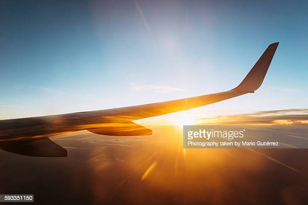 Sunset on an airplane