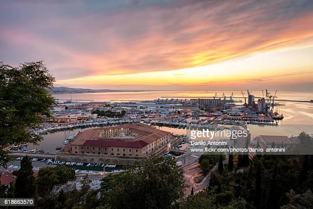 sunset on ancona - アドリア海 ストックフォトと画像