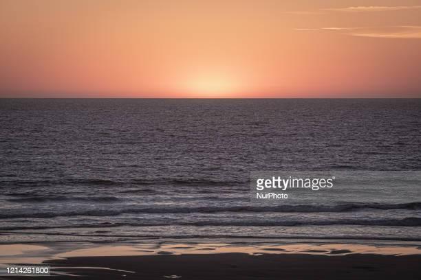 Sunset on Atlantic Ocean in Cap Ferret, France, on May 19, 2020.