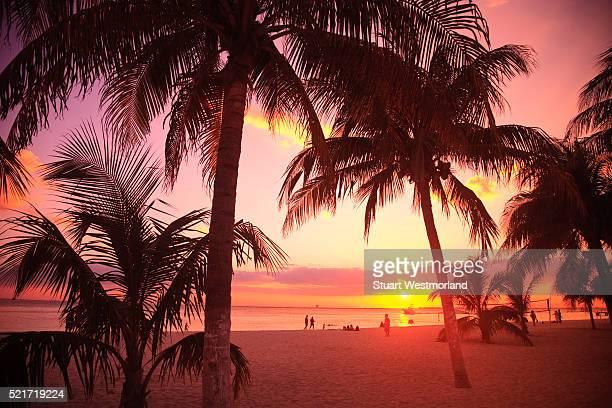 Sunset on beach on Isla Mujeres