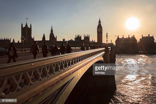 Sunset on Big Ben and Westminster Bridge in London