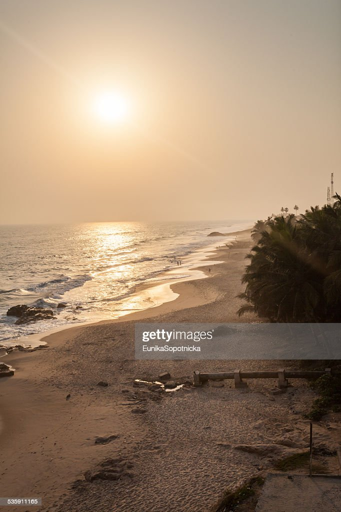 Sunset on Cape Coast beach, Ghana : Stock Photo