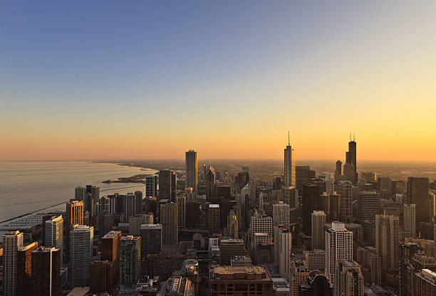 Sunset on Chicago skyline