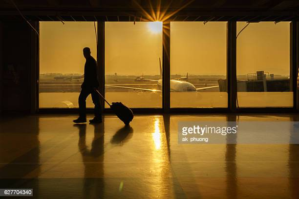Sunset on departure hall