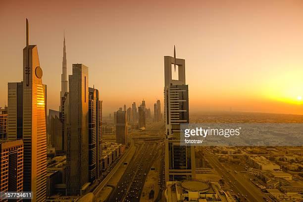 Sunset on Dubai Skyline - cityscape