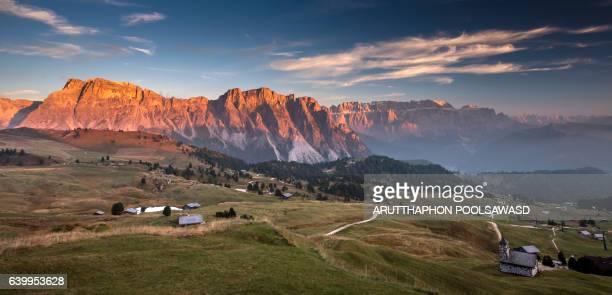 Sunset on european alps , seceda dolomites Italy