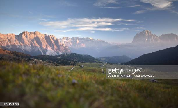 Sunset on european alps , seceda dolomites Italy