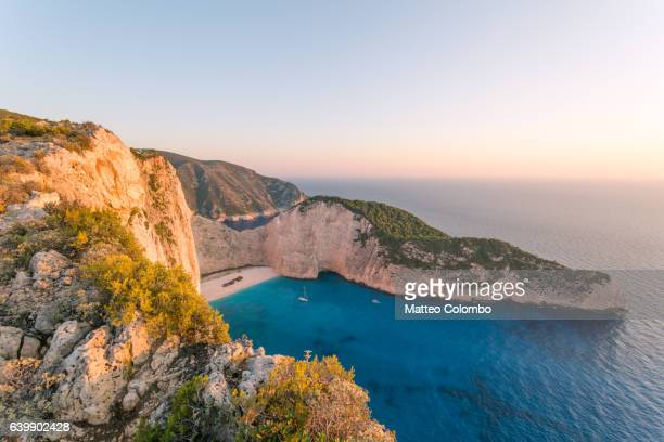Sunset on famous Navagio shipwreck beach, Zakynthos, Greece