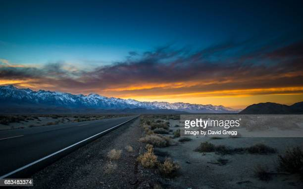 sunset on highway 136 - lone pine california stock pictures, royalty-free photos & images