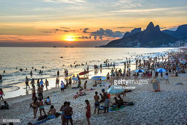 sunset on Ipanema Beach