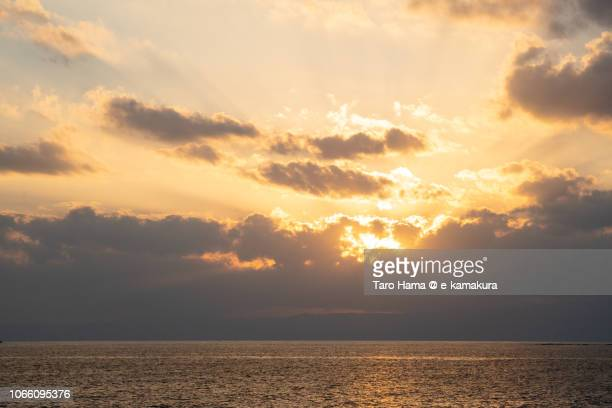 Sunset on Izu Peninsula and Sagami Bay in Kamakura in Japan