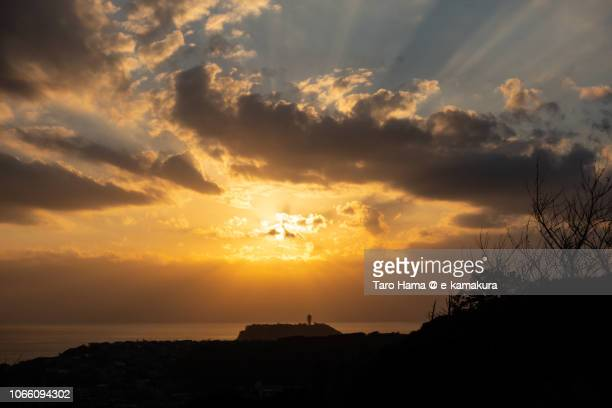 Sunset on Izu Peninsula, Enoshima Island and Sagami Bay in Kamakura in Japan