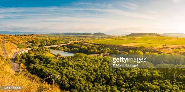 sunset on la rioja, spain - ebro river stock photos and pictures