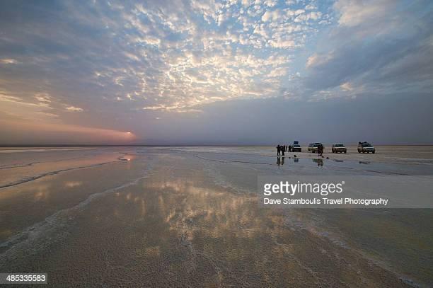 sunset on lake assal salt lake, danakil, ethiopia - tigray stock photos and pictures