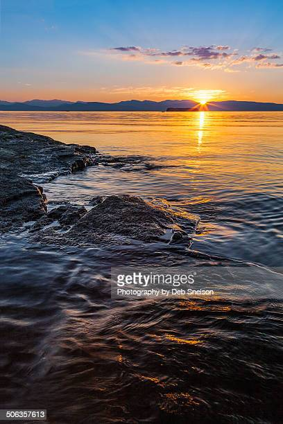 sunset on lake champlain - burlington vermont stock photos and pictures