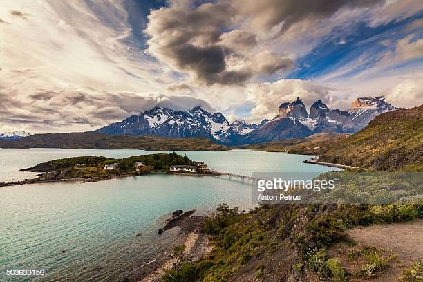 Sunset on Lake Pehoe. Torres del Paine, Chile