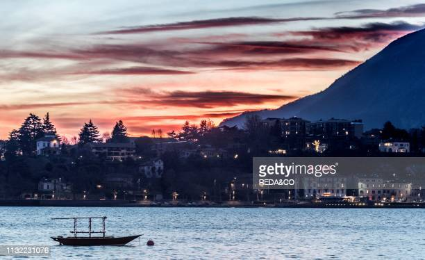 Sunset on Lecco Como Lake Lombardy Italy Europe