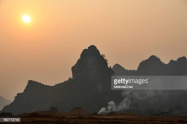 Sunset on limestone hills