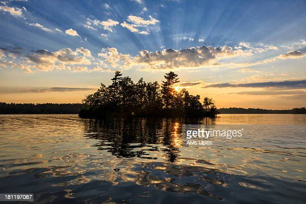 sunset on little wood lake, wisconsin - iowa_county,_wisconsin stock pictures, royalty-free photos & images