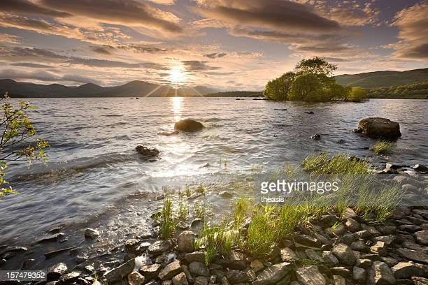 sunset on loch lomond - theasis stock pictures, royalty-free photos & images
