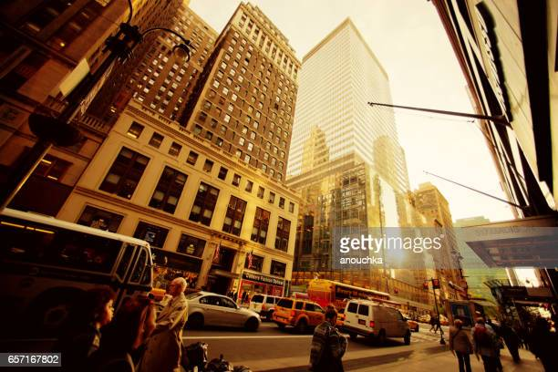 sunset on madison avenue, new york - madison avenue stock pictures, royalty-free photos & images