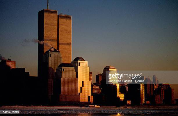 Sunset on Manhattan and the World Trade Center.