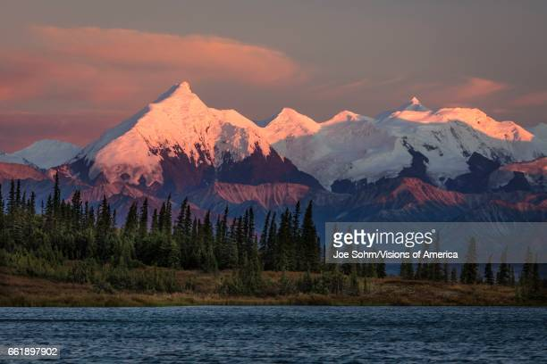 Sunset on Mount Denali previously known as Mount McKinley the highest mountain peak in North America at 20 310 feet above sea level Alaska Mountain...