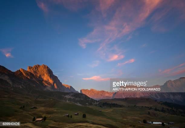 Sunset on mountain alps , dolomites Italy
