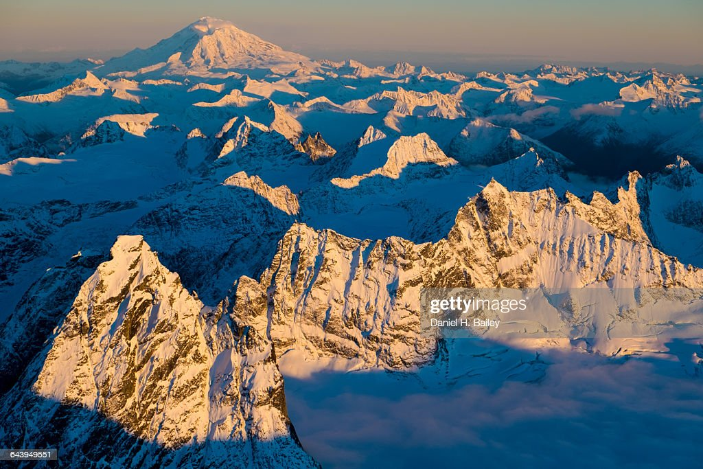 Sunset on Mt. Redoubt and the Neacola Mountains : Stock Photo