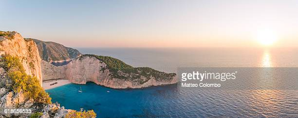 Sunset on Navagio shipwreck beach, Zante, Greece
