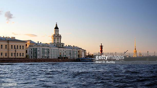 sunset on neva river, st. petersburg, russia - neva river stock photos and pictures