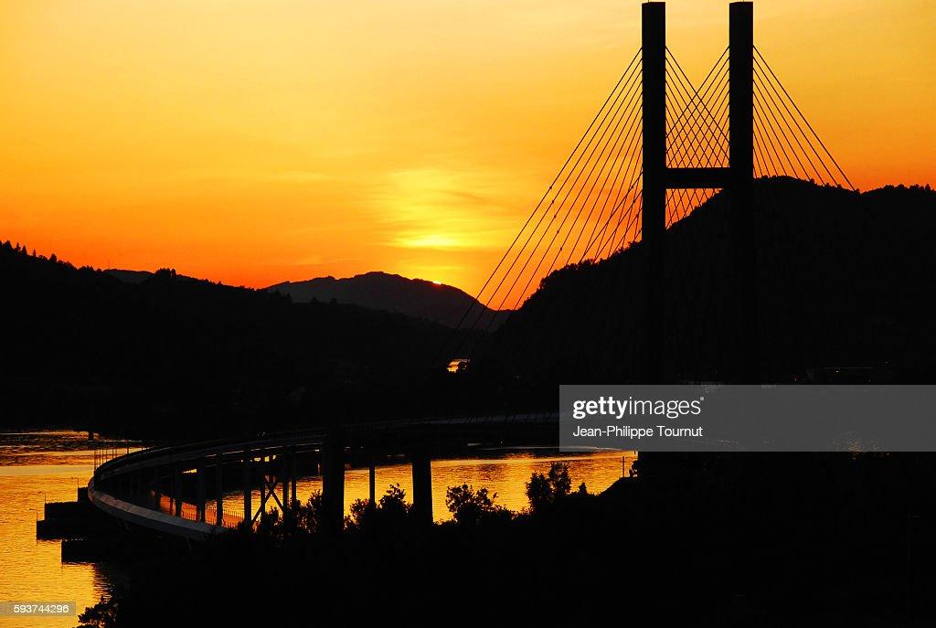 Sunset on Nordhordlands Bridge neat Bergen, western Norway, Scandnavia : Stock Photo