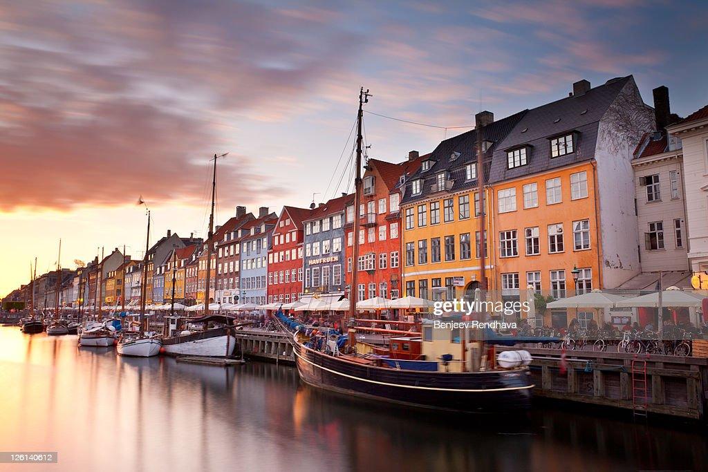 Sunset on Nyhavn Canal, Copenhagen, Denmark. : Stock Photo