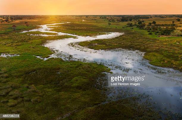 Sunset on Okavango Delta, Chobe National Park, Botswana, Africa