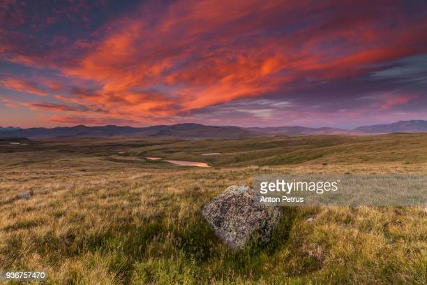 Sunset on plateau Ukok, Altai mountains, Siberia, Russia