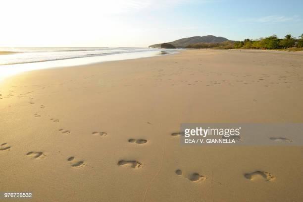 Sunset on Playa Grande beach, footprints on the beach, near Tamarindo, Guanacaste, Costa Rica.