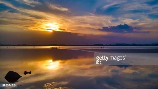 Sunset on Qiantang river