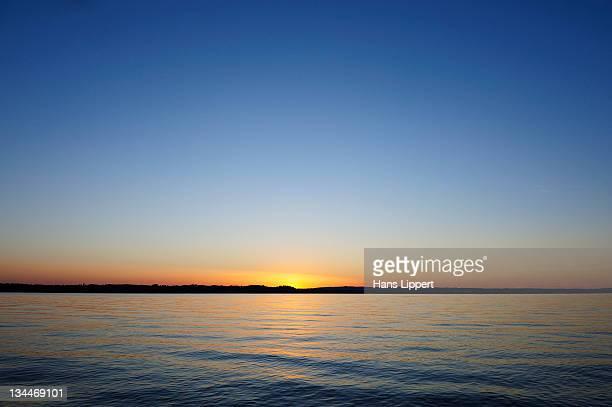 Sunset on Starnberger See or Lake Starnberg in Ambach, Muensing, Upper Bavaria, Bavaria, Germany, Europe