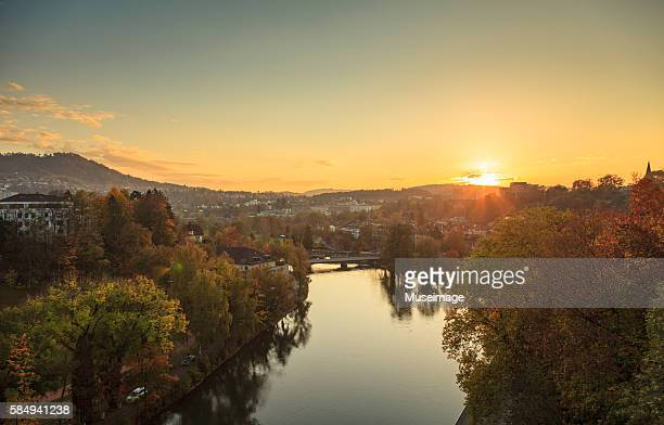 Sunset on the Aare river