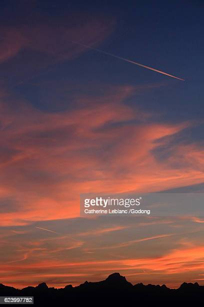 sunset on the aravis - climat stock pictures, royalty-free photos & images