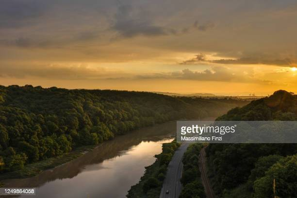 sunset on the avounmouth with the avon river and the leigh woods national nature reserve - avonmouth stock pictures, royalty-free photos & images