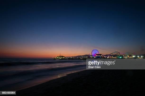 Sunset on the beach at Santa Monica Pier