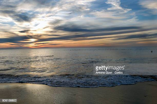 A sunset on the beach of Chatelaillon Beach Chatelaillon a commune located in the CharenteMaritime department in the southwest of France on December...