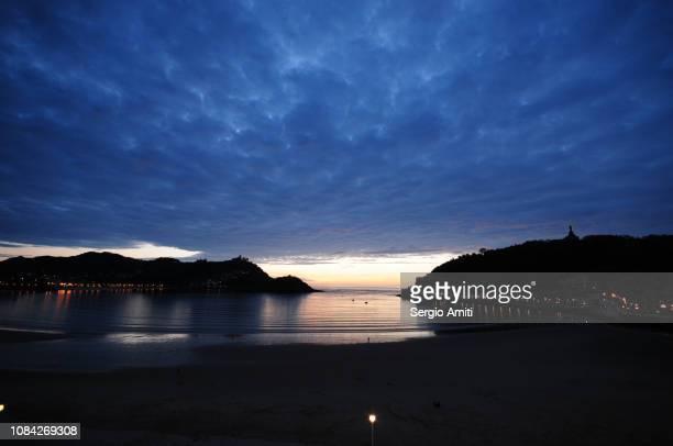 Sunset on the beach of La Concha