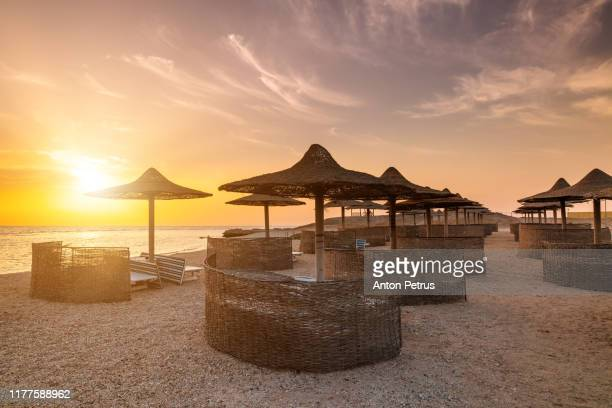 sunset on the beach with beach umbrellas and sun loungers. red sea, egypt - sharm el sheikh foto e immagini stock