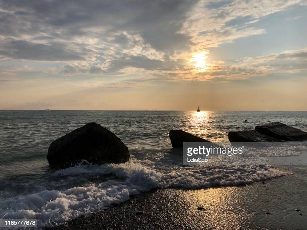 sunset on the black sea, sochi - sochi stock pictures, royalty-free photos & images